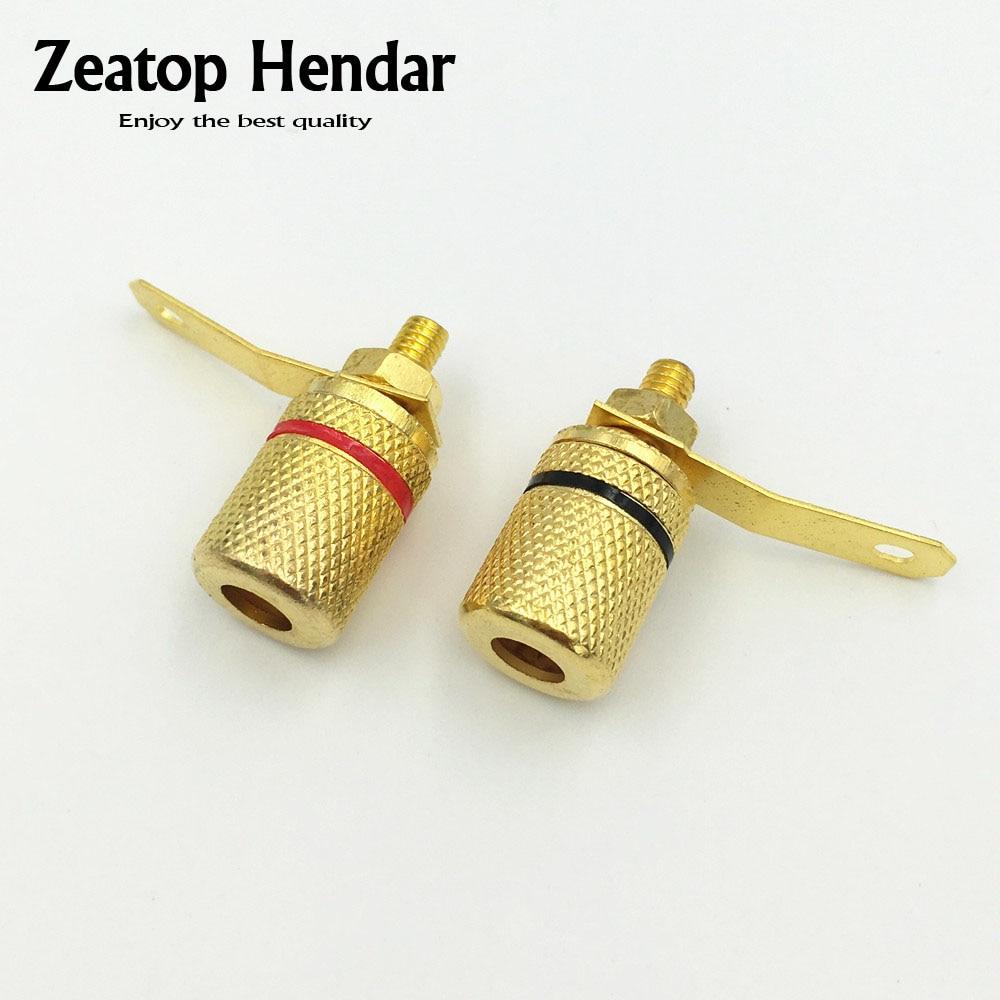 100PCS Gold Speaker Connector Binding Post for 4mm Banana Female Jack Amplifier Plugs