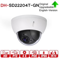 DH SD22204T-GN 2MP 1080P PTZ 4X Optical Zoom Dome IP Camera WDR ICR Ultra DNR IVS POE IP66 IK10 with logo DH-SD22204T-GN