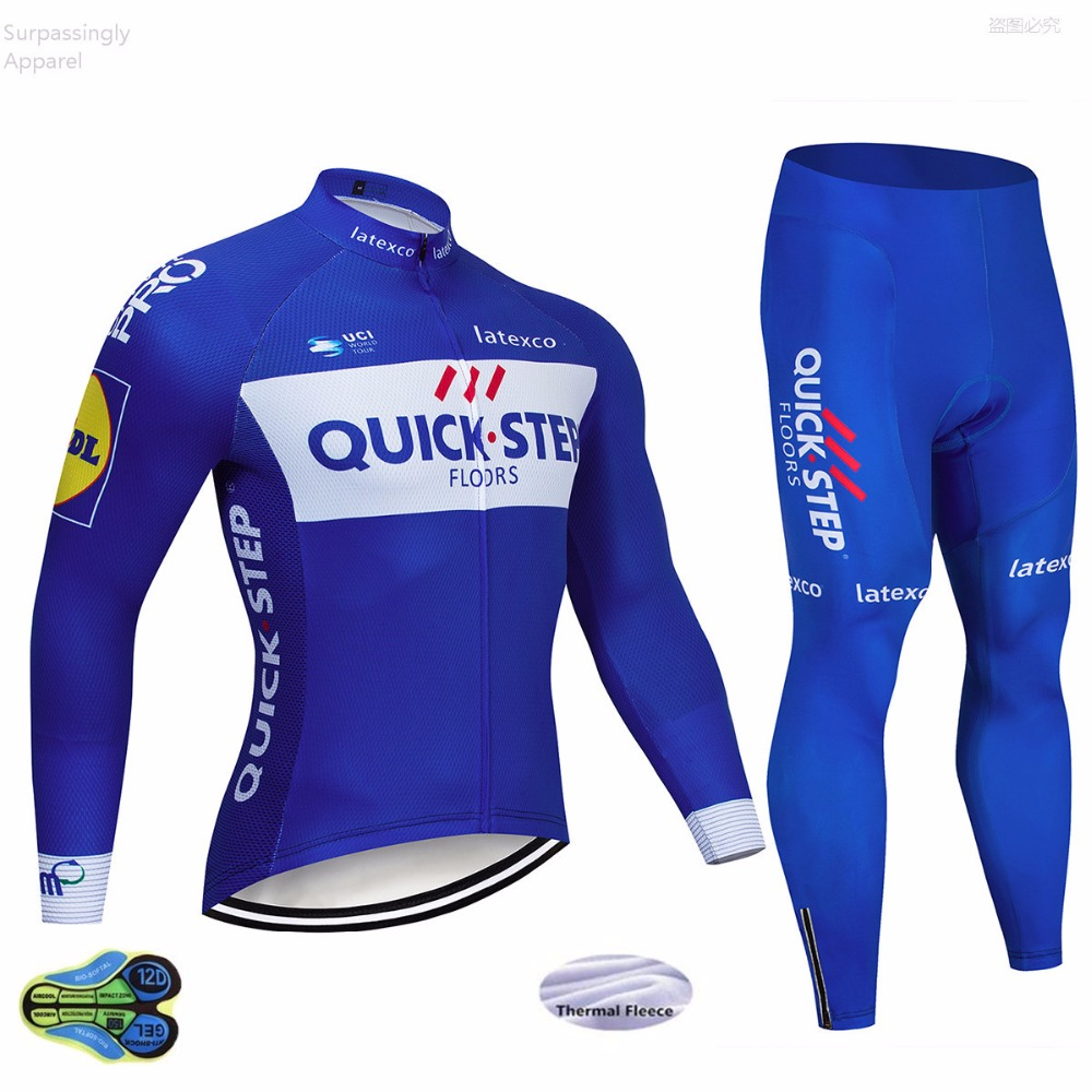 2018 Winter Team Quick Step Thermal Fleece Cycling Jersey Bike Pants Set Mens 12D Pad Ropa