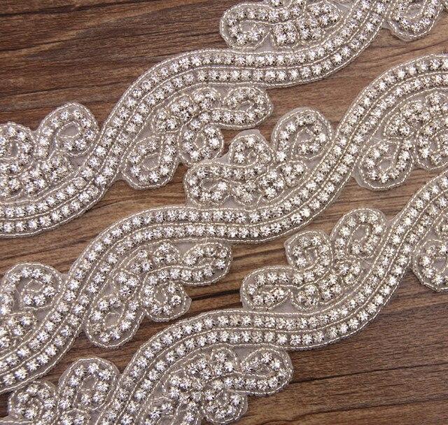 1 Ярд ясно кристалл rhinestone отделка S форма сеть аппликация планки исправление для свадьбы волос группа пояса створки украшения