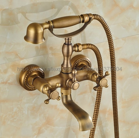 Wall Mounted Antique Brass Double Handle Bathroom Bathtub Faucet with Handheld Spray Shower Hot and Cold Water Ntf024 hpb wall mounted single handle hot and cold water handheld bidet faucet brass bathroom toilet cleaning spray faucet hp7008
