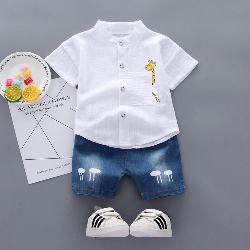 Pudcoco Summer Toddler Baby Boy Clothes Solid Color Cute Giraffe Tops Denim Short Pants 2Pcs Oitfits Cotton Casual Clothes