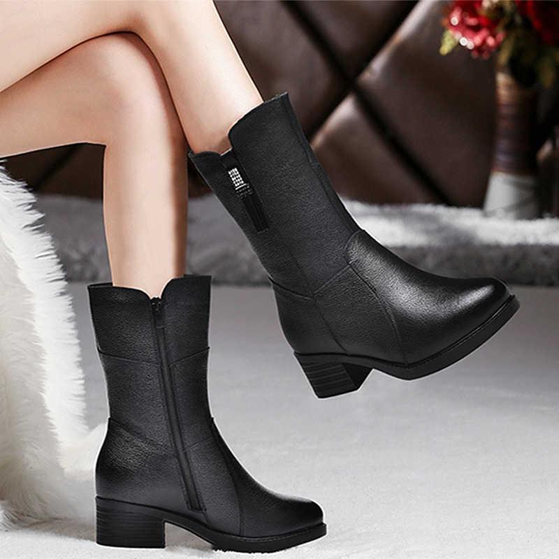 DONGNANFENG Kadın Kadın Anne Bayanlar Hakiki deri ayakkabı Çizmeler Orta Buzağı Kış Peluş Kürk Sıcak Fermuar Med Topuk Bling BH-8783