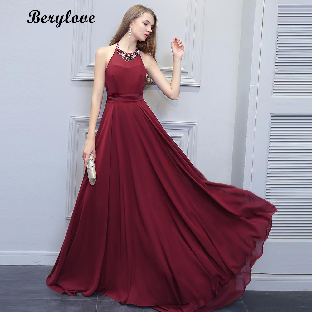 BeryLove Fashion Burgundy Prom Dresses 2018 Long Beaded Halter Backless Evening Dresses Formal Dress Special Occasion Gowns