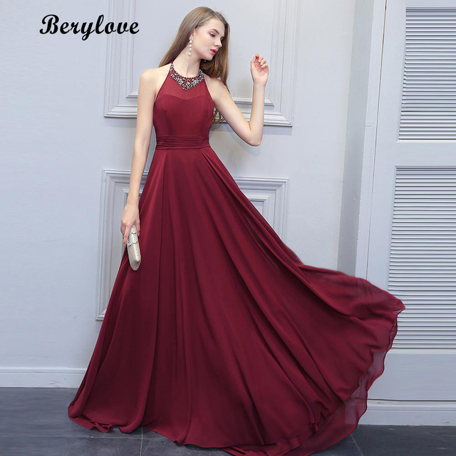 BeryLove Fashion Burgundy Prom Dresses 2018 Long Beaded Halter Backless Evening  Dresses Formal Dress Special Occasion Gowns 89c12ac95d8b