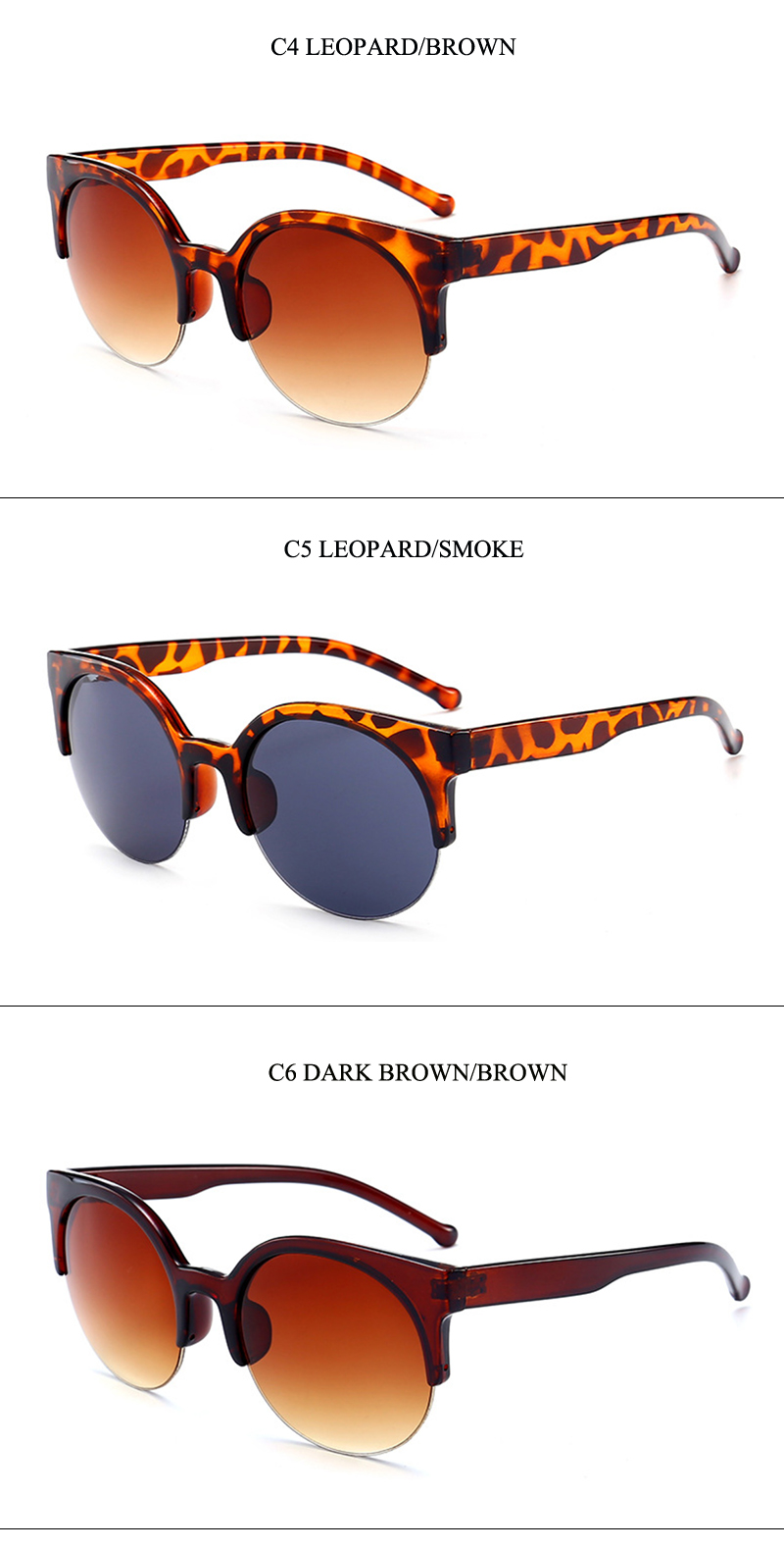 7 semi-rimless women sunglasses