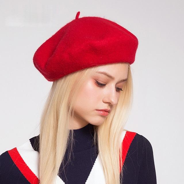Lady spring Winter Berets Hat Painter style hat Women Wool Vintage Berets  Solid Color Caps Female Bonnet Warm Walking Cap beanie c149873681a8
