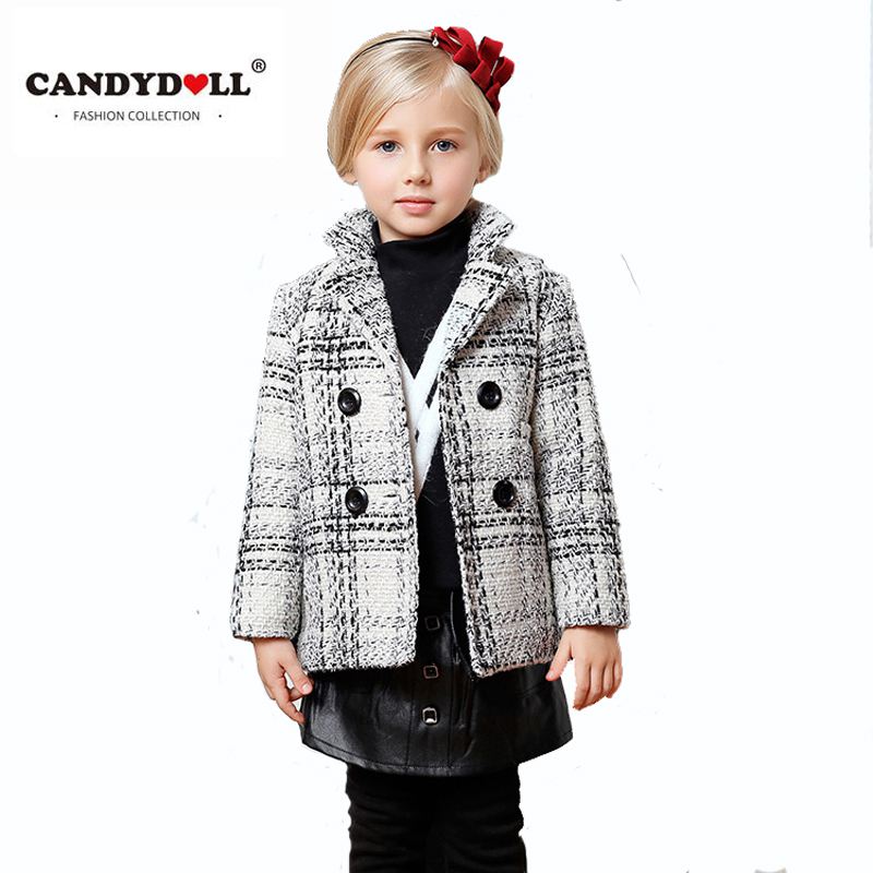 winter Children white grid coat girls woolen lapel casual long-sleeved Tong Gezi outdoor wear for baby england style sophisticated style lapel ripple buttons long sleeve coat for women