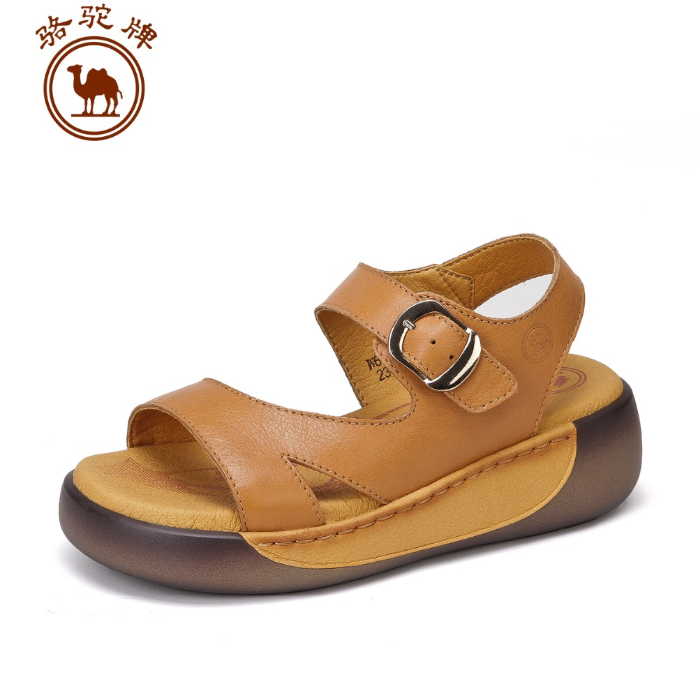 Sandals shoes comfortable - Camel Ladies Sandals 2016 Summer New Leather Shoes Daily Casual Comfortable Sandals Cake Bottom Heels Female
