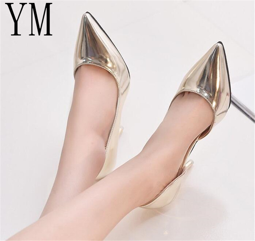 Fashion Hot Spring Autumn Women Pumps Sexy 9cm Gold Silver Black High Heels Shoes Pointed Toe Wedding Shoes Party Women Shoes 2018 sexy women pumps shoes spring red black silver pointed high heeled female high heels wedding shoes plus size 43 xp15
