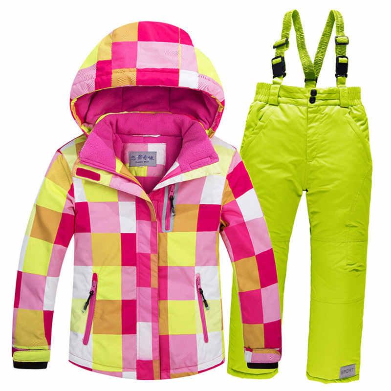 -30 детский зимний костюм, пальто, лыжный костюм, верхняя одежда для девочек и мальчиков, одежда для катания на лыжах, одежда для сноуборда, непромокаемая теплая зимняя куртка + штаны