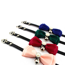 Cat Collar with Bell Cute Bow Pearl Tie