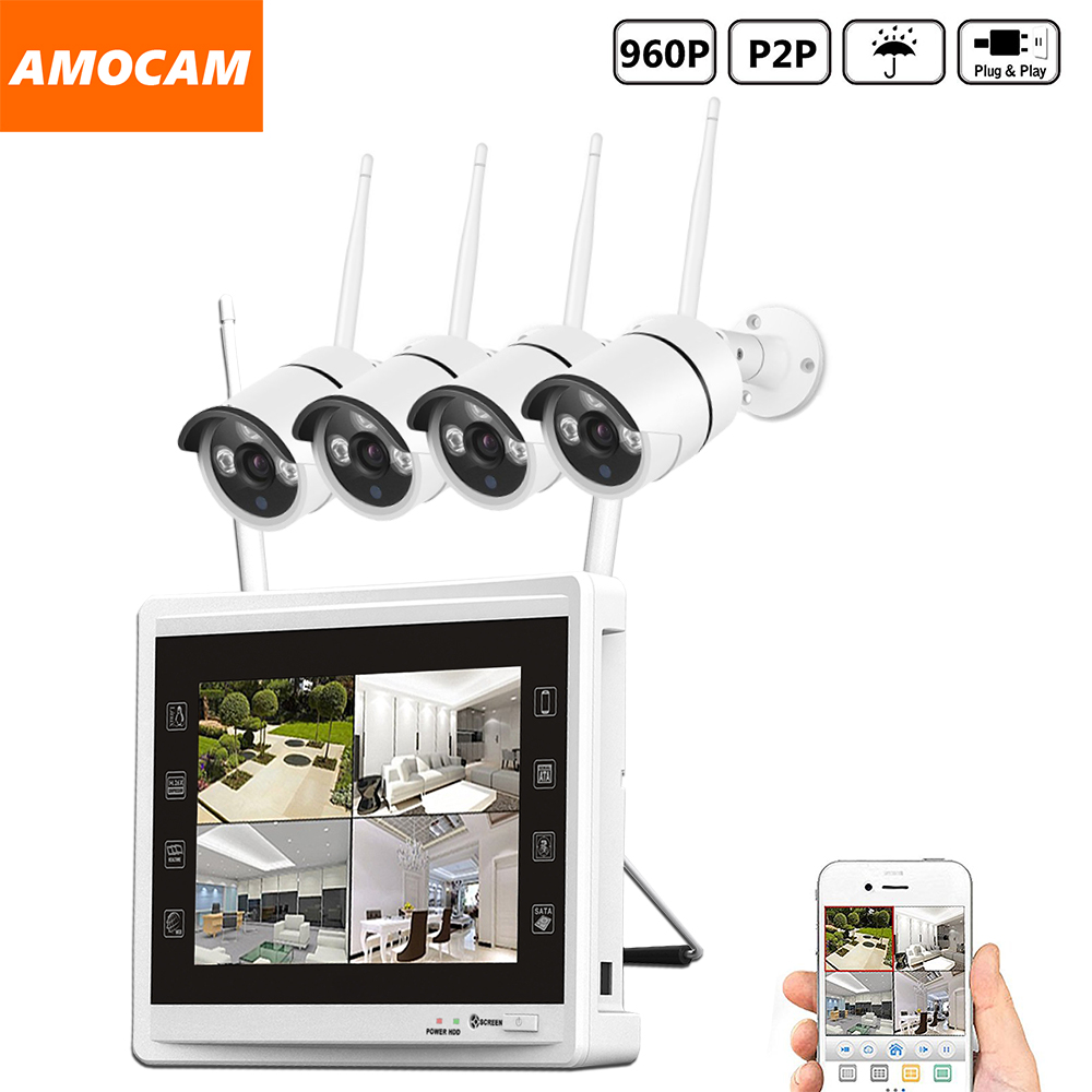 4CH 960P Wireless WIFI Security Camera System 4pcs 1.3MP WIFI Bullet IP Cameras 4channel 960P NVR with 11 inch HD Monitor Record