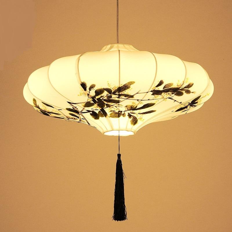 Ткани в китайском стиле Открытый Подвесные Светильники Ресторан старинной лампы оригинальность Классическая Искусство Ручная роспись све