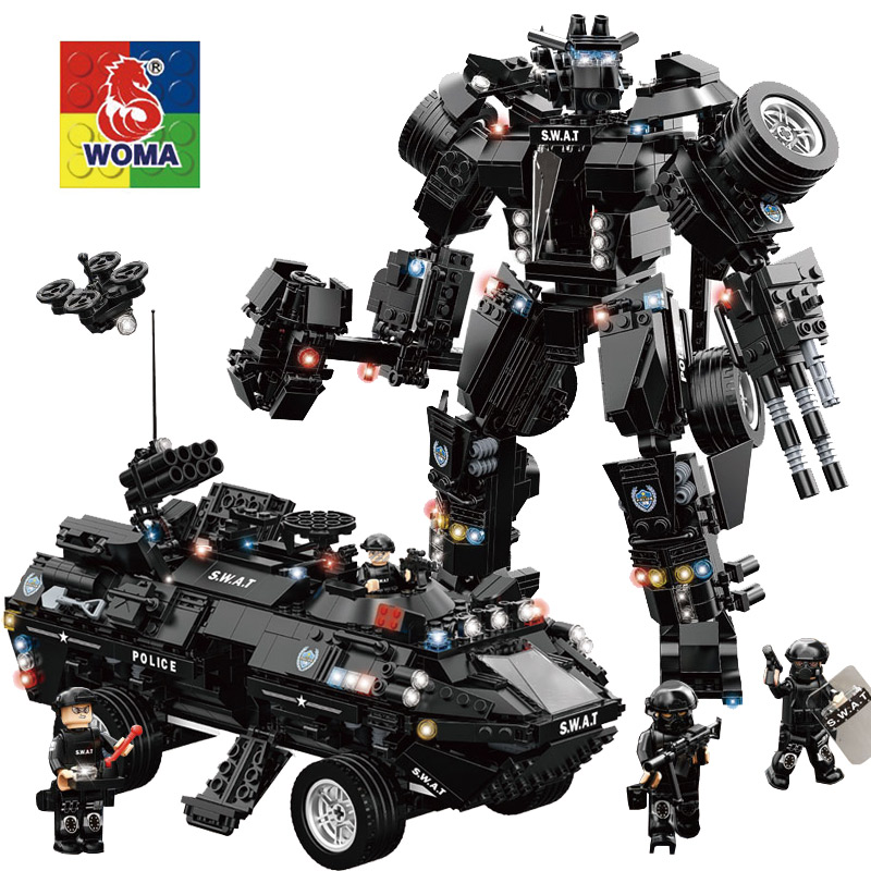 Police Series Building Blocks Kids Assembling Urban Weapons Aircraft Car robot Boat Dolls Boy Toy Compatible Legoe police pl 12921jsb 02m
