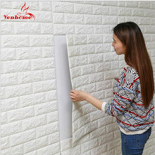 DIY Self Adhensive 3D Brick Wall Stickers Living Room Decor Foam Waterproof Wall Covering Wallpaper For TV Background Kids Room(China)