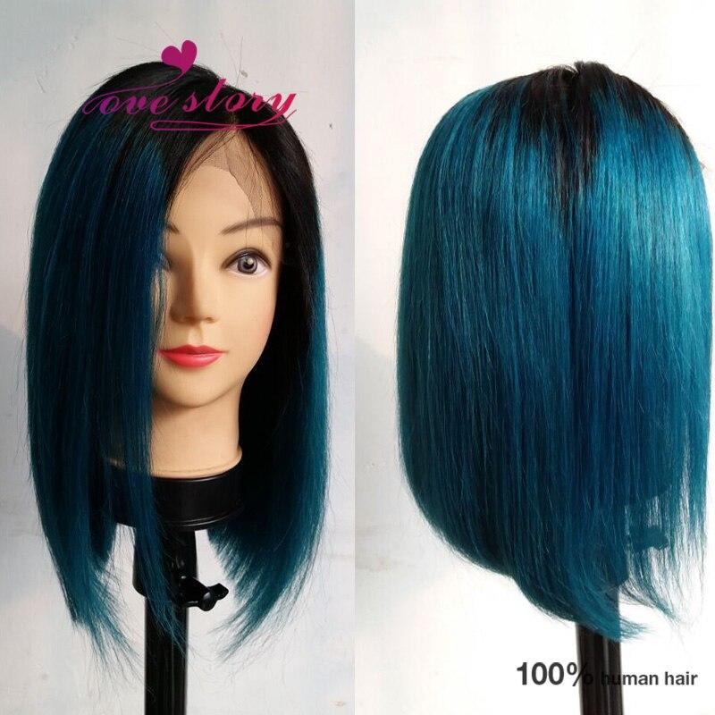 Ombre Blue Short Human Hair Wig Blue Brazilian Full Lace