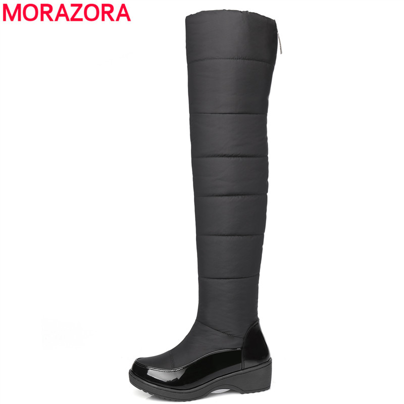 MORAZORA Fashion winter keep warm plush snow boots high quality down over the knee boots footwear platform thigh high fur boots thigh high over the knee snow boots womens winter warm fur shoes women solid color casual waterproof non slip plush wedges botas