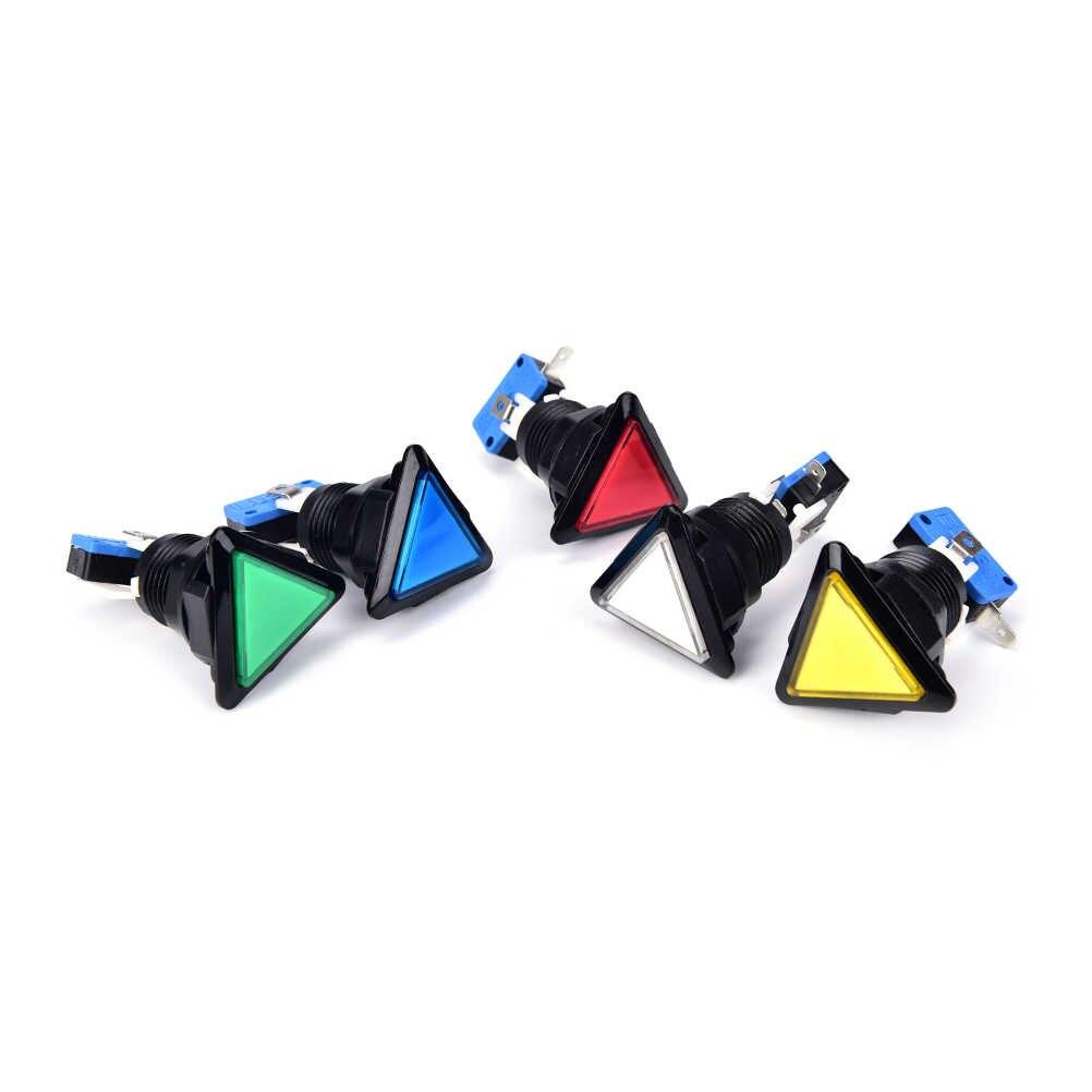 1 Cái 5 Colors 12 V Triangle Dẫn Arcade Push Button Với Microswitch Vòng Tròn Màu Đen Chiếu Sáng