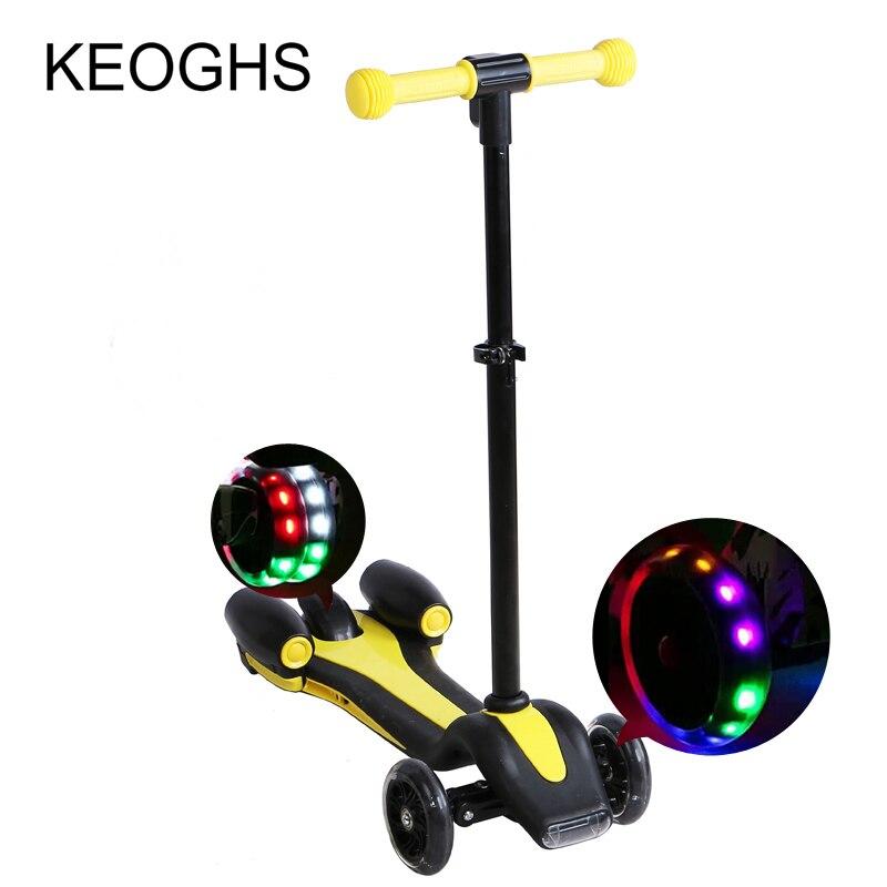 Crianças kick scooter Novo padrão CONDUZIU a lâmpada Foguete forma spray de PU 3 rodas de Carga LEVOU ao ar livre do esporte Fisiculturismo