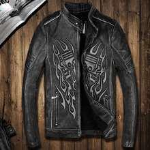 FREE SHIPPING 2016 New Man Vintage Skulls Leather Motorcycle Jacket Black Stand Collar Genuine Cowhide Slim Fit Men Biker Coat