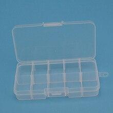 10 Compartment Adjustable Transparent Plastic Jewelry Bead Storage Box Organizer
