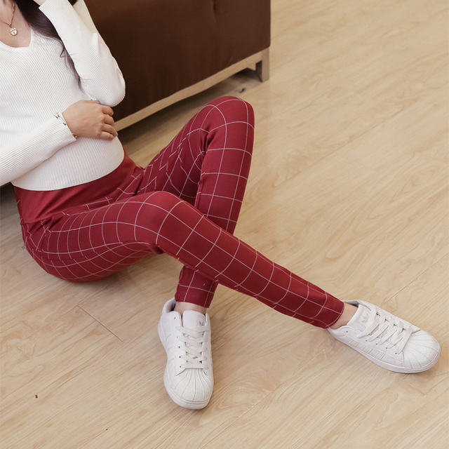 Spring autumn new fashion maternity pants Comfortable fabric Thickening Grid trousers pencil foot leisure Abdominal adjustable