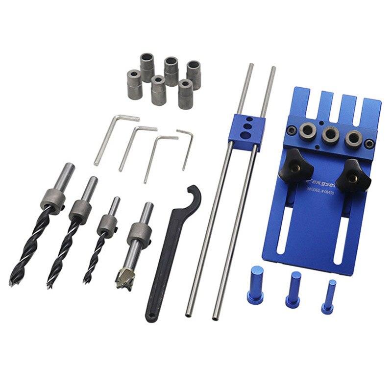 Feng sen THGS Carpintaria ferramenta DIY Carpintaria Marcenaria de Alta Precisão Kit 3 em 1 localizador De Perfuração Gabaritos passador guia de perfuração ki