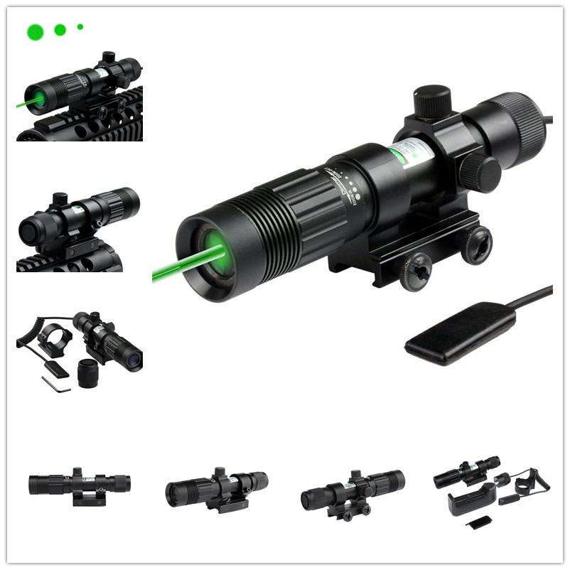 Adjustable Green Illuminator Tactical Laser Sight Flashlight Hunting Green Dot Designator Scope with Weaver Mount and Switch