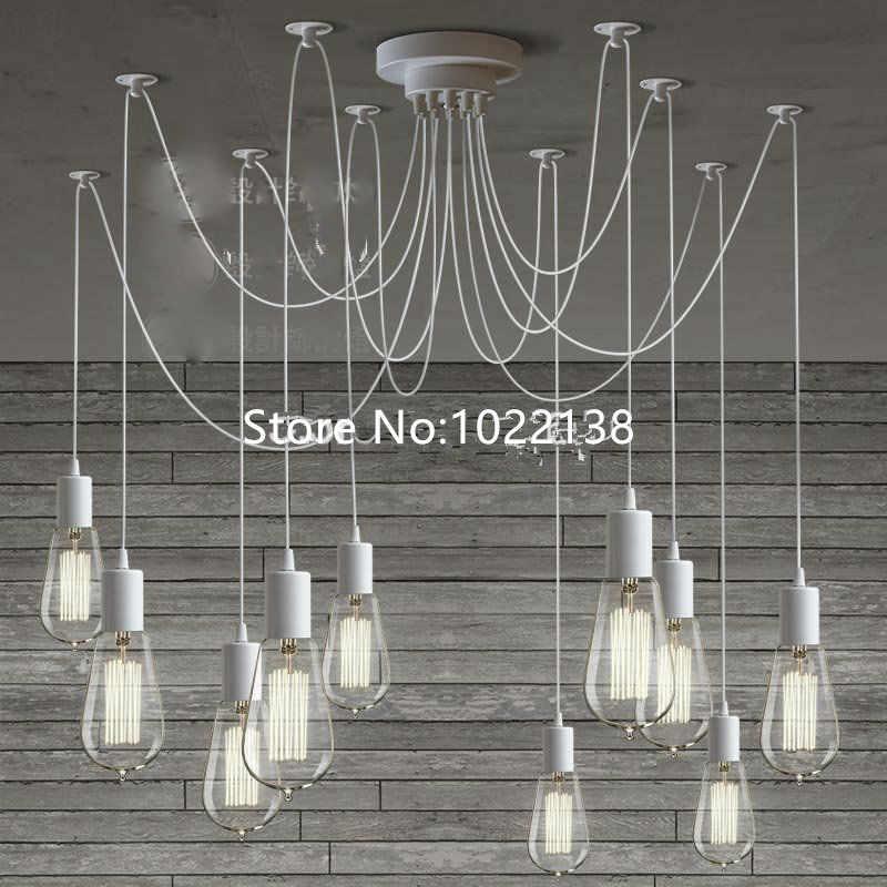 LOFT moderne Lustre blanc lustres 6-10 bras rétro réglable Edison ampoule bricolage E27 Art araignée lampe luminaire luminaire