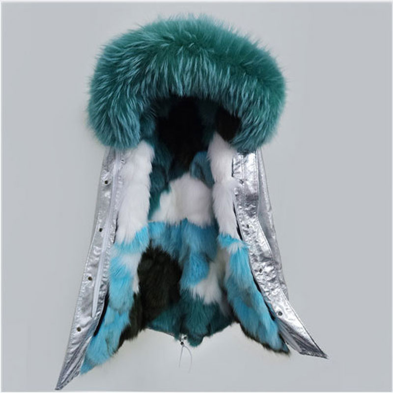 Korean Style Silver Long Winter Jacket Miegofce Women Luxurious Big Real Raccoon Fur Collar Coat Brand Fox Fur Liner Parkas 2017 2017 winter new clothes to overcome the coat of women in the long reed rabbit hair fur fur coat fox raccoon fur collar