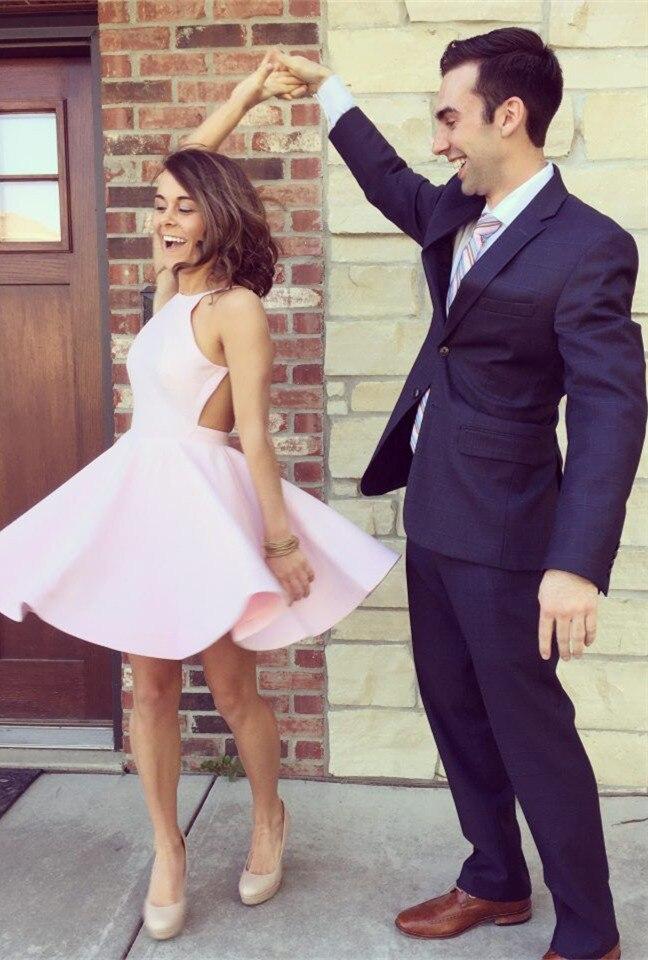 De calidad superior pink a-line mini vestidos de coctel cortos vestidos de fiest