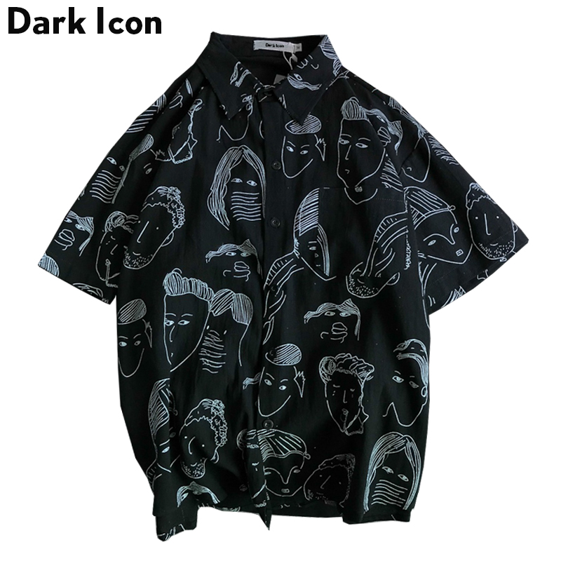 Dark Icon Harajuku Shirts Men 2019 Summer Beach Hawaii Tropical Style Mens Hip Hop