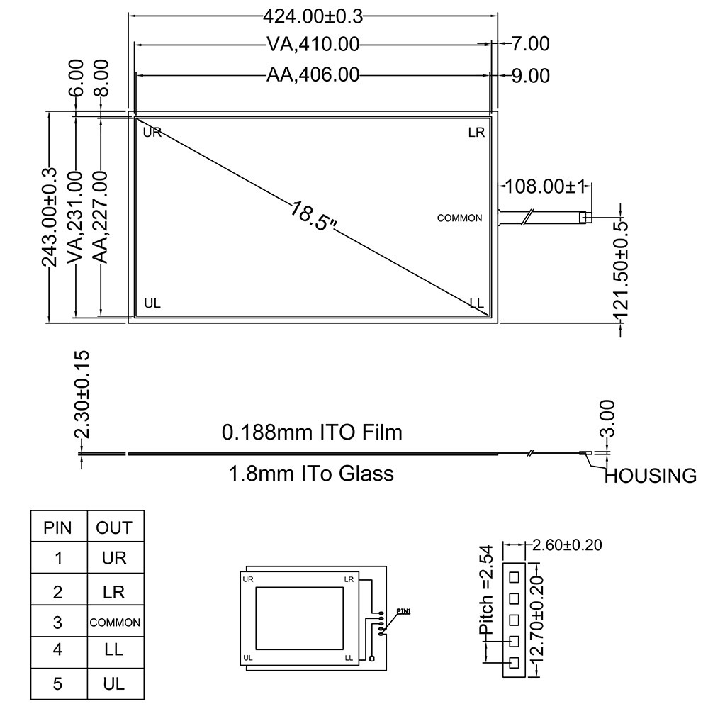 424mmx243mm 5Wire Resistive Touch Screen Panel USB Kit for 18.5 monitor 18 5inch resistive touch screen panel 429 3mmx253 6mm 4wire usb kit for monitor