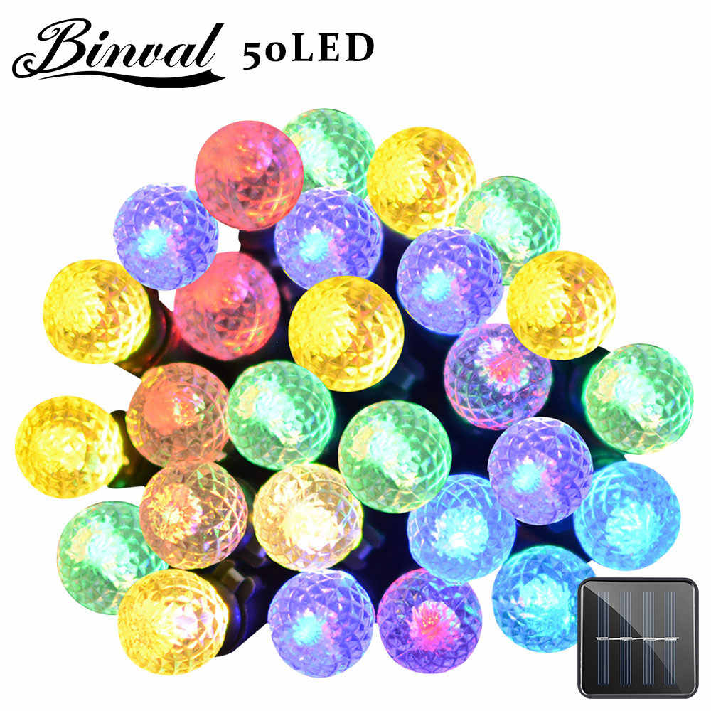Binval Solar String Lights G12 8 Modes 50 LEDs Ball Fairy Christmas Outdoor Lighting Garden Party Holiday Wedding Decoration