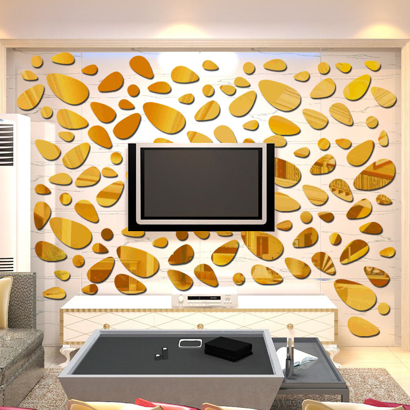 3D Diy wall sticker decoration mirror wall stickers for TV ...