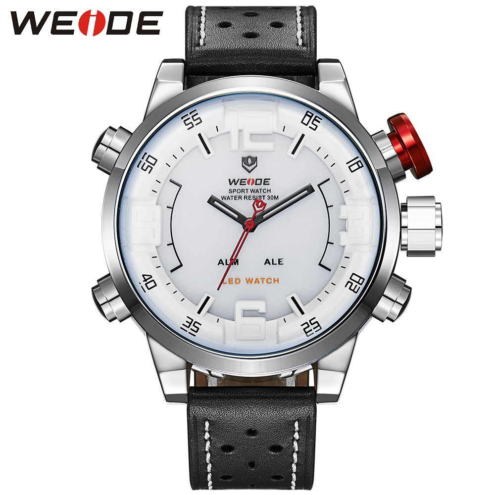 все цены на Fashion WEIDE Waterproof Sport Watch Digital Quartz Watch LED Date Day Men Wristwatch Leather Strap Clock Montre Homme Relogios