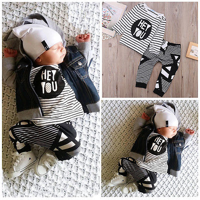 Baby Boys Girls Fall Winter Outfits Set Infant Kids HEY YOU Long Sleeve T-shirt Tops+Stripe Pants Outfit 2pcs baby Clothes Sets infant baby boy girl 2pcs clothes set kids short sleeve you serious clark letters romper tops car print pants 2pcs outfit set