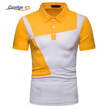 Covrlge Polo Shirt Men Plus Size Brand Mens Clothing Big Patchowrk Short Sleeve Shirts MTP115