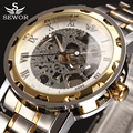 2017 SEWOR Top Luxury Brand Transparent Skeleton Watch Men Stainless Steel Mens Watches Casual Mechanical Watch Montre Homme