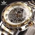 2017 top de luxo da marca sewor esqueleto transparente assista homens de aço inoxidável mens relógios casuais relógio mecânico montre homme