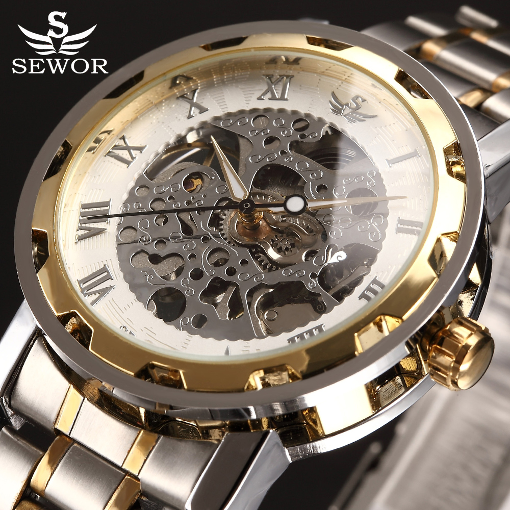Mechanical Watch 2017 SEWOR Top Luxury Brand Transparent Skeleton Watch Men Stainless Steel Mens Watches Casual Montre Homme sewor golden men skeleton mechanical watch stainess steel steel diamond watches transparent steampunk montre homme wristwatch