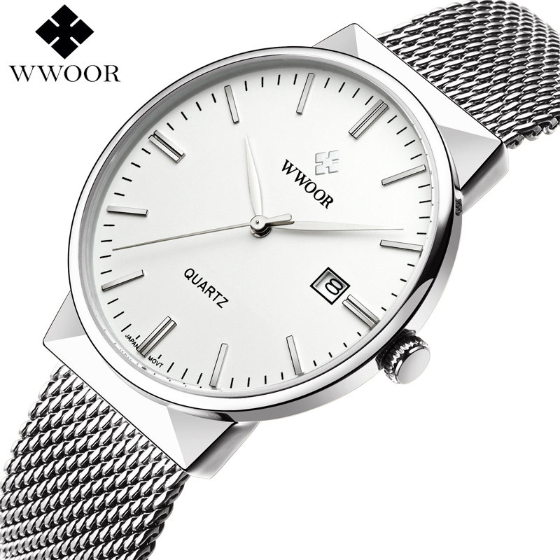 Fashion Simple Stylish Luxury brand WWOOR Watches Men Stainless Steel Mesh Strap Thin Dial Clock Man Casual Quartz-watch Black цены