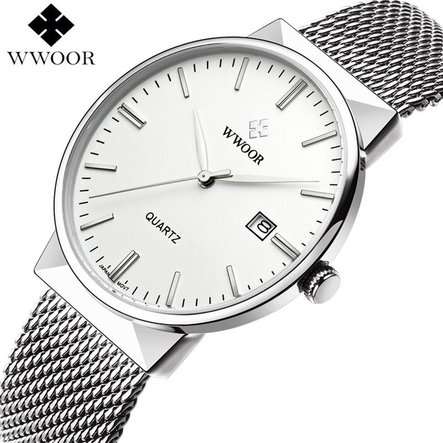 785e7610fb57 Moda sencilla con estilo marca de lujo wwoor relojes hombres de acero  inoxidable malla Correa Delgado