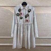 Polka Dot Dresses Cotton 2018 High Quality Casual Long Sleeve Sequin Dress Women