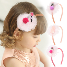 Oaoleer Hair Accessories Yarn Bands for Girls Flamingo PomPom Headband Glitter Hoop Children Handmade Dress