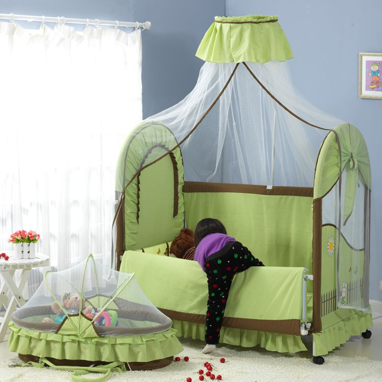 children's bed export delivery free mosquito net around a folding mattress beds of different colors high quality export baby bed folding portable travel bed 3 colors in stock hong kong free delivery