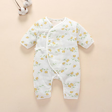 Coveralls String Closure O-Neck Long-Sleeves Cute Floral Cool Absorbent Breathable Jumpsuits 0-6 Months