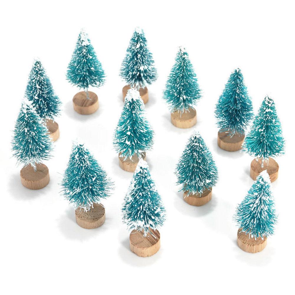 12x Mini Sisal Bottle Brush Christmas Trees Santa Snow Frost Village House  Christmas Car Decoration Car Ornaments