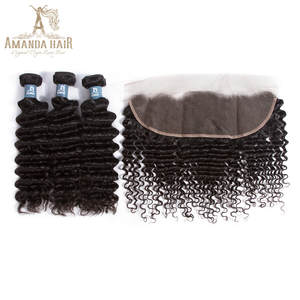 Amanda Peruvian Deep Wave 3 Bundles With Lace Frontal Closure 1 Pack Human Hair Weave Bundles 100% Virgin Hair With Frontal